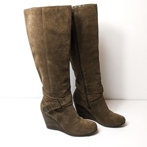 BCBGeneration Tall Suede Tan Wedge Boots